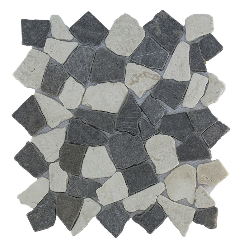 Gebroken marmer Interlocking mozaïekvloer mix grijs/wit