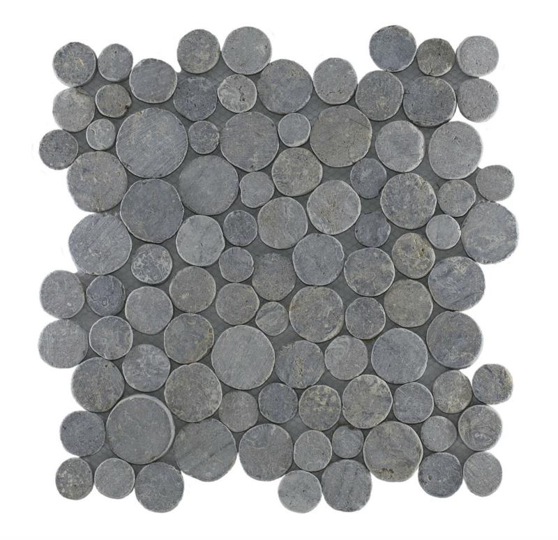 Marmer munten mozaïekvloer licht grijs - Coin