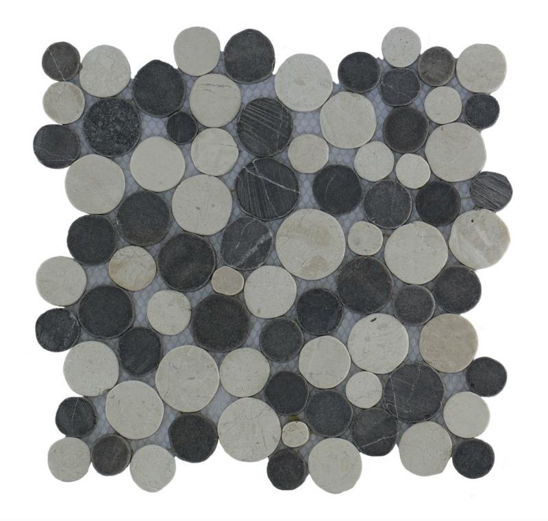 Marmer munten mozaïekvloer donker grijs en creme Coin