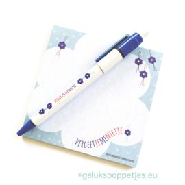 Vergeet je me nietje gelukspoppetjes pen