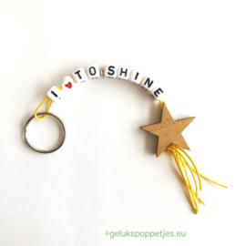 I love to shine gelukspoppetjes sleutelhanger