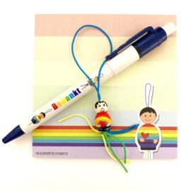 Bedankt gelukspoppetjes pen