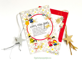 Nieuwjaar gelukskaartje met gelukssterren - 2 sets