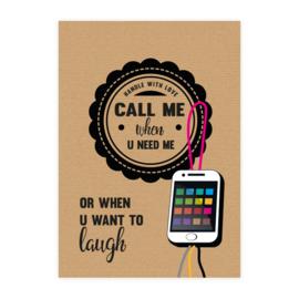 "Grote gelukspoppetjes kaart ""call me"""