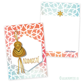 Namasté gelukspoppetjes kaartje met geluksboeddha