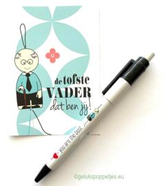 """Gelukspoppetjes pen """"you are the best"""" voor vader of opa"""