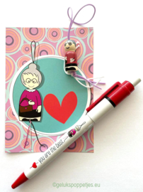 """Gelukspoppetjes pen """"you are the best"""" voor moeder of oma"""