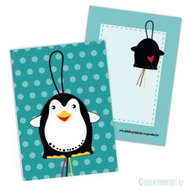 Gelukspoppetje penguin kaartje