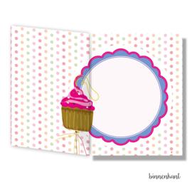 Geluks cupcakes kaart