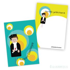 Geslaagd gelukspoppetjes kaartje