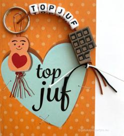 Topjuf sleutelhanger met gelukspoppetjes kaartje