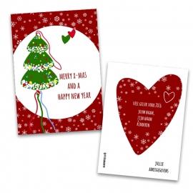 Kerstkaart met gelukspoppetje met eigen tekst en namen