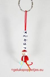 Kerstman gelukspoppetje sleutelhanger
