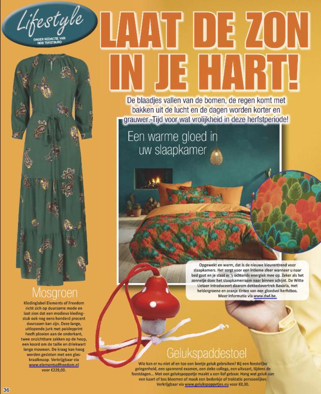 """Publicatie """"gelukspaddestoel"""" in tijdschrift de Party"""