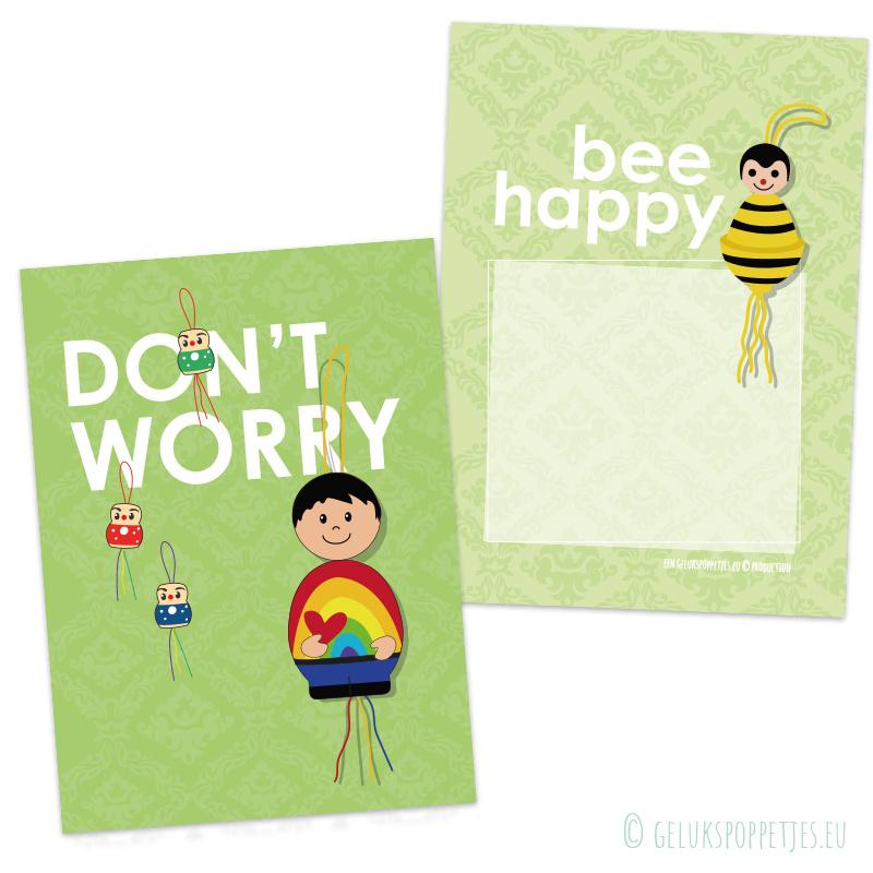 Don't worry.... bee happy gelukspoppetjes kaartje