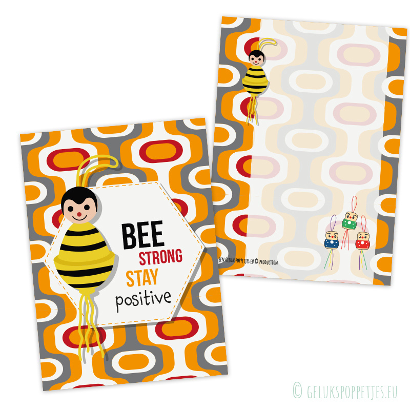 """""""BEE strong, stay positive"""" gelukspoppetjes kaartje"""
