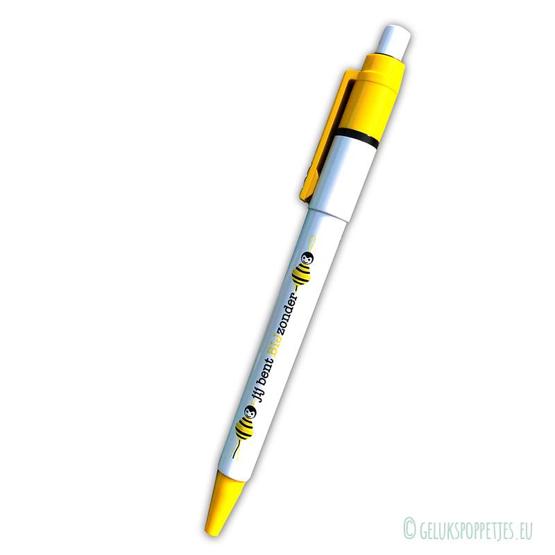 """""""jij bent BIJzonder"""" gelukspoppetjes pen"""