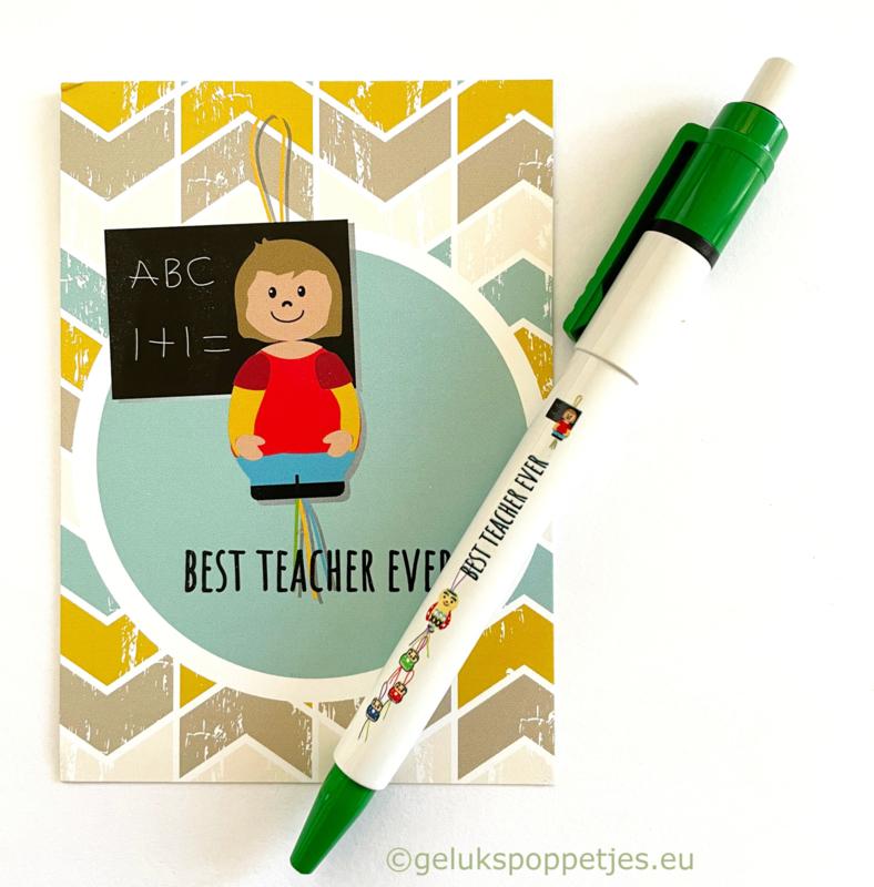 """""""Best teacher ever"""" gelukskaartje met gelukspen"""