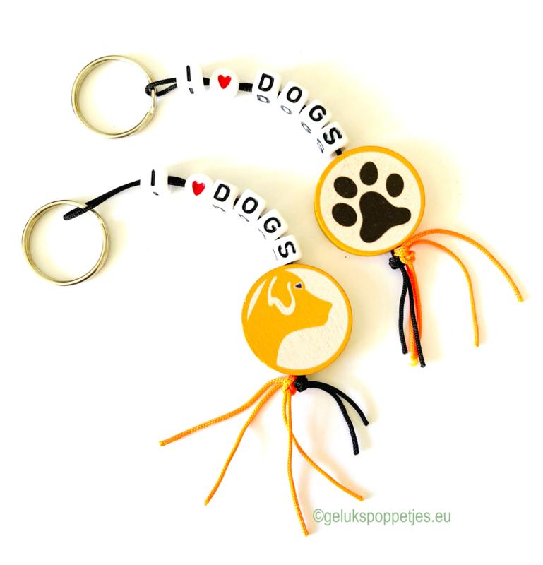 """""""I love dogs"""" gelukspoppetjes sleutelhanger"""