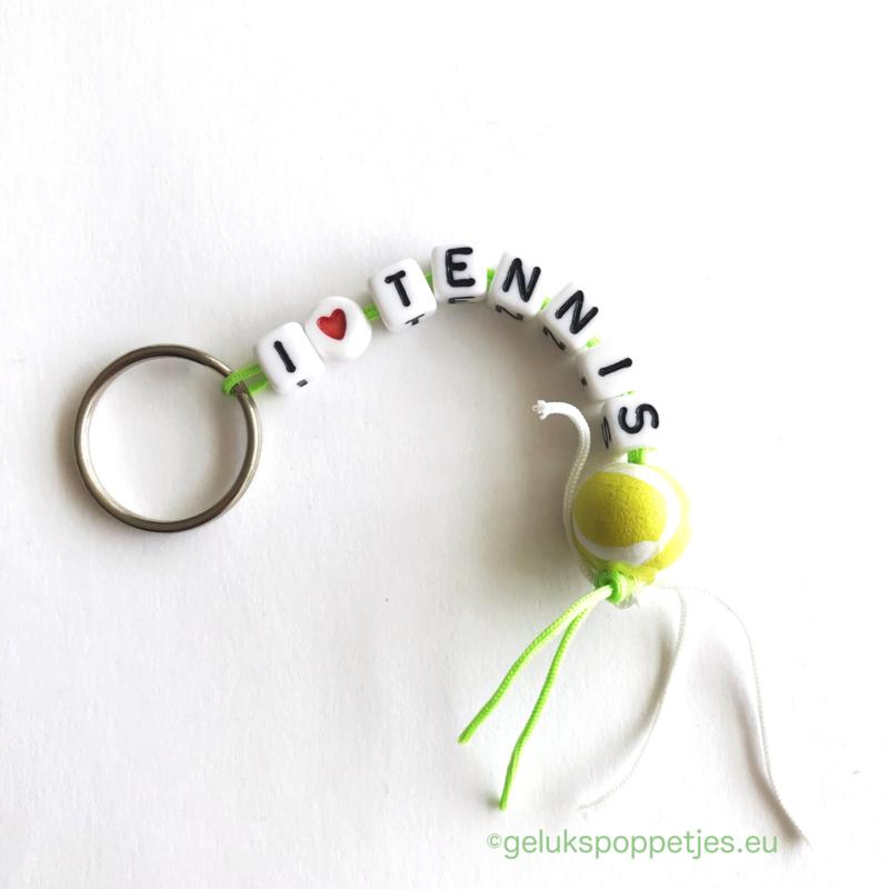 I love tennis gelukspoppetjes sleutelhanger