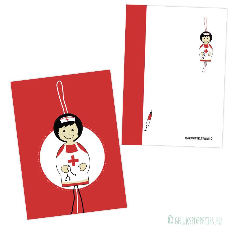 Gelukspoppetje verpleegster Diana kaartje vol geluk!