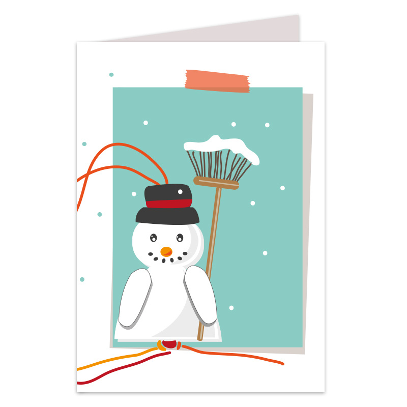 Geluks sneeuwpoppetjes kaart
