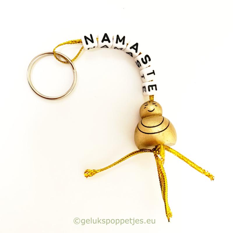Namaste gelukspoppetje boeddha sleutelhanger