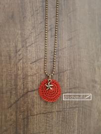 Gehaakte halsketting met hanger ster antiek brons