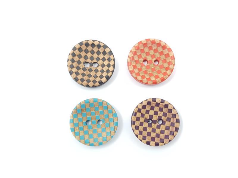 houten knoop dambordpatroon, 20 mm, 4 kleuren