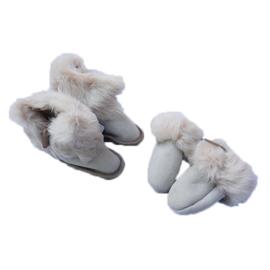 Fellhof baby pantoffel en wantjes Yeti Wit/Natuur