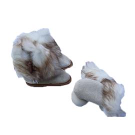 Fellhof baby pantoffel en wantjes Yeti Wit/Beige
