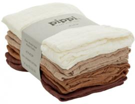 Pippi Hydrofiele doeken Wit/Bruin 8 stuks