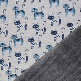 Alpen Fleece - Grijs Melee Blauwe katjes