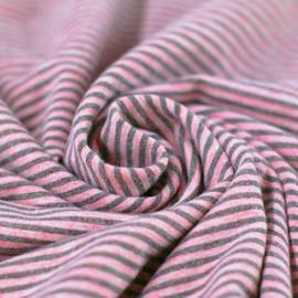 Jersey Lurex strepen - Roze/Grijs