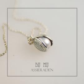 Zilveren knop in bloei met vingerafdruk