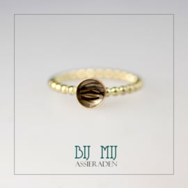 Haarlok-ring goud met balletjes