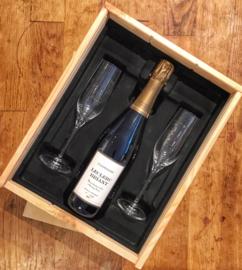 Champagne Reserve Brut - Leclerc Briant Bio, luxe kist, 2 flutes