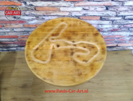 """V8 krukastafel / Sidetable ø70cm houten blad """"F1 Zandvoort"""""""