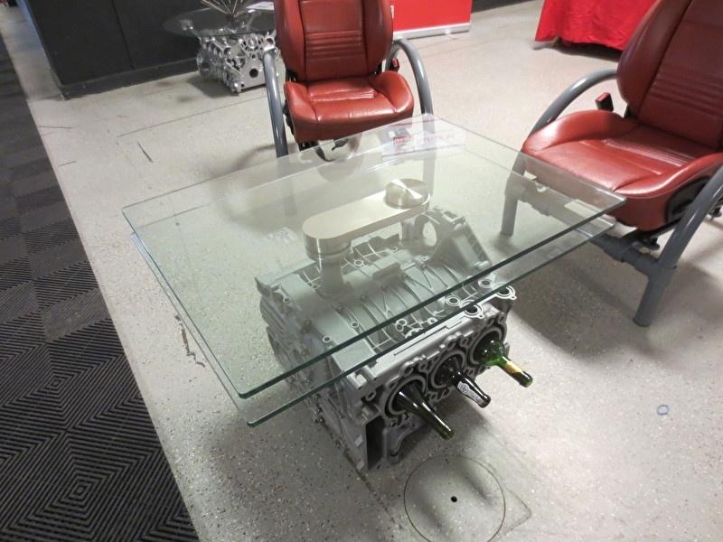 Porsche Flat Six, 996 couchtisch mit Drehbare Glas Platte