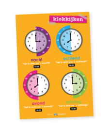 Educatieve poster, klokkijken | dag/nacht