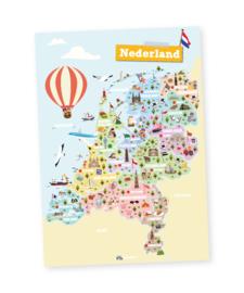 Educatieve poster,  Nederland | provincies en hoofdsteden