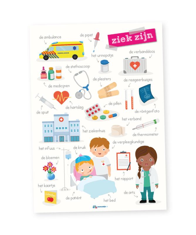 Educatieve poster,  ziek zijn