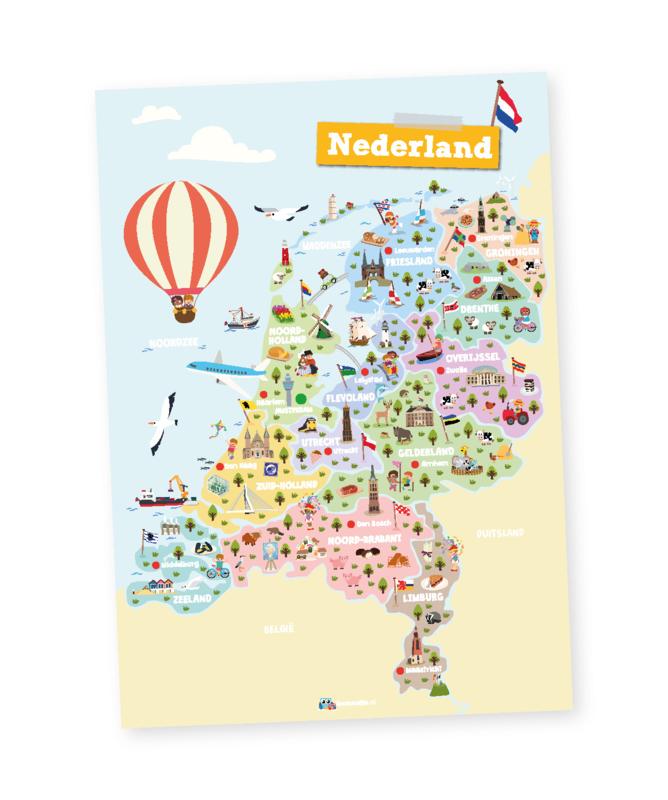 Educatieve poster,  Nederland   provincies en hoofdsteden