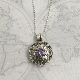 Adoptie-ketting Rond amethist, echt zilver