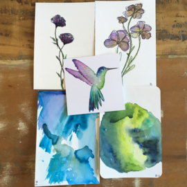Aquarel-kaarten set 12