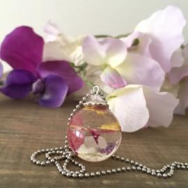 Blom rond paars, roze, geel