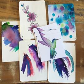 Aquarel-kaarten kneusjes-set