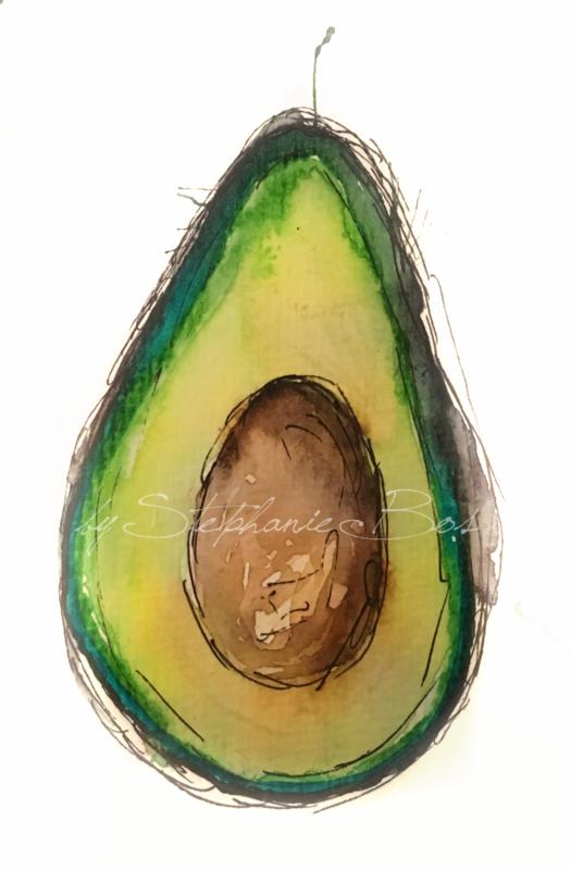 Aquarel avocado