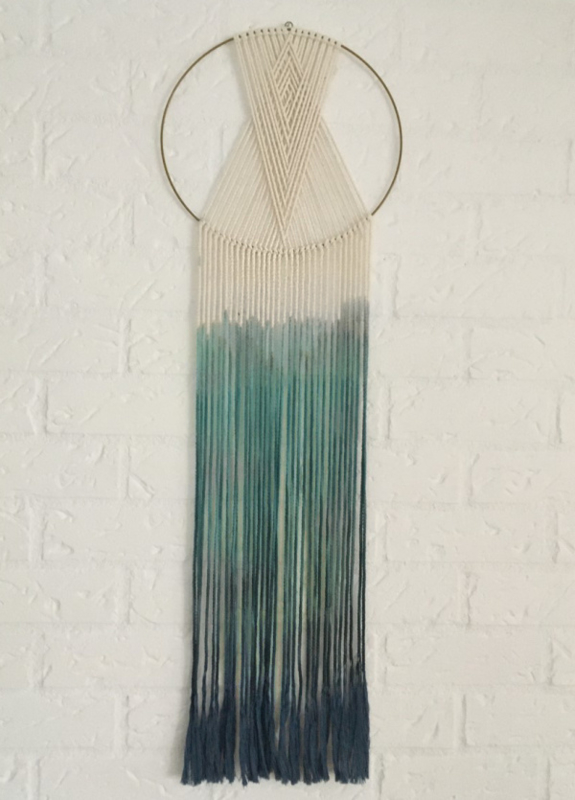 Wandhanger rond wit, groen-blauw