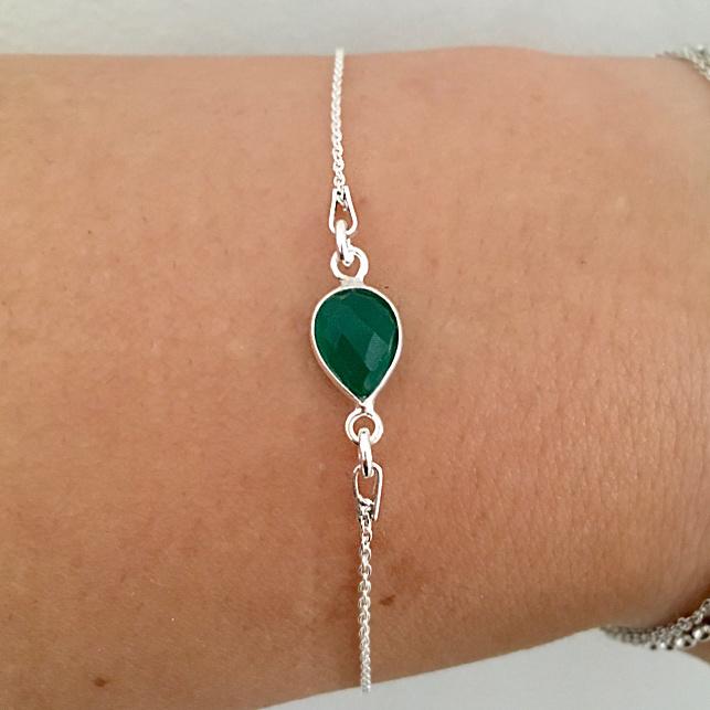 Zilveren armband groene Onyx